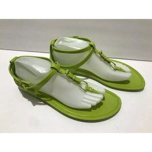 Ralph Lauren collection jelly sandals lime green